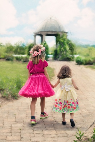 little-girls-walking-summer-outdoors-pretty